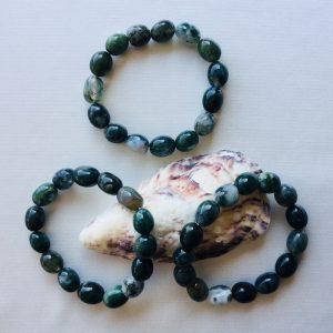 bracelet pierres roulées agate mousse