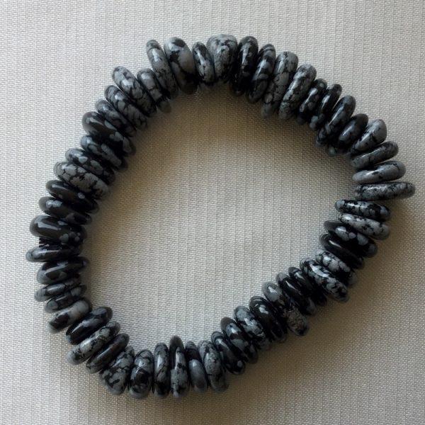 bracelet obsidienne flocon de neige