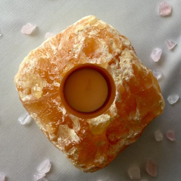 bougeoir calcite orange