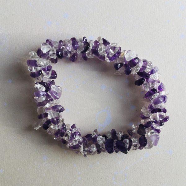bracelet duo amethyste et cristal de roche