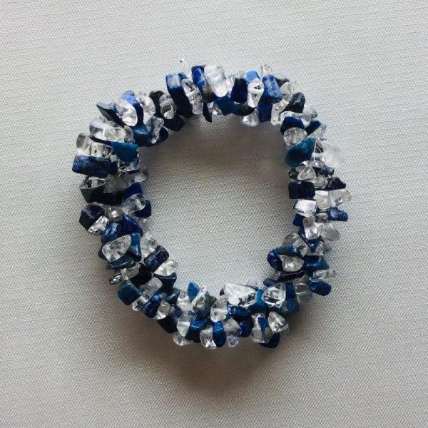 bracelet duo lapis lazuli cristal de roche