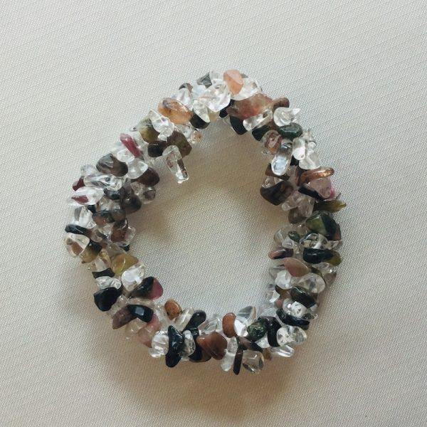 bracelet duo tourmaline et cristal de roche