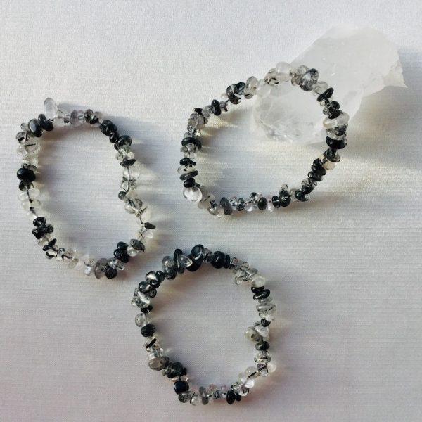 bracelet quartz a inclusion de tourmaline