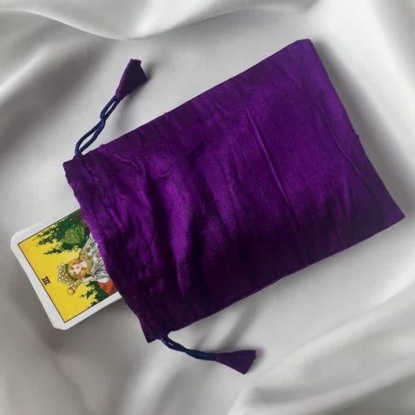 pochon en soie violet
