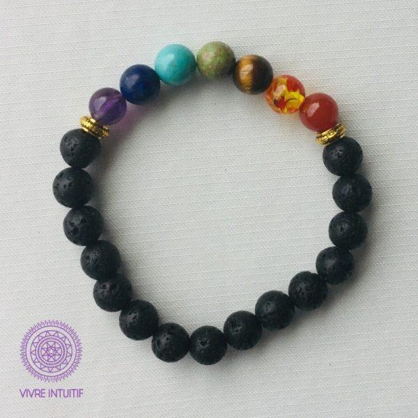 bracelet sept chakras et perles de lave